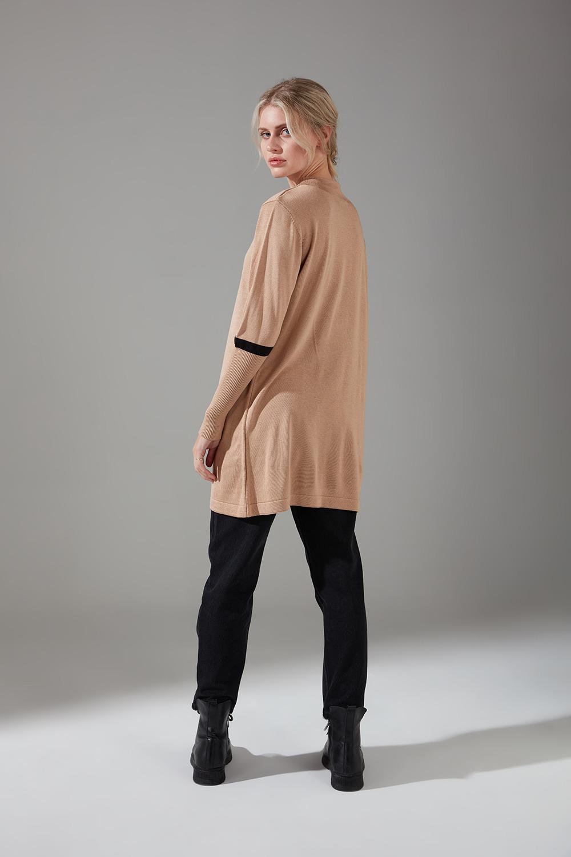 Şerit Detaylı Triko Camel Tunik