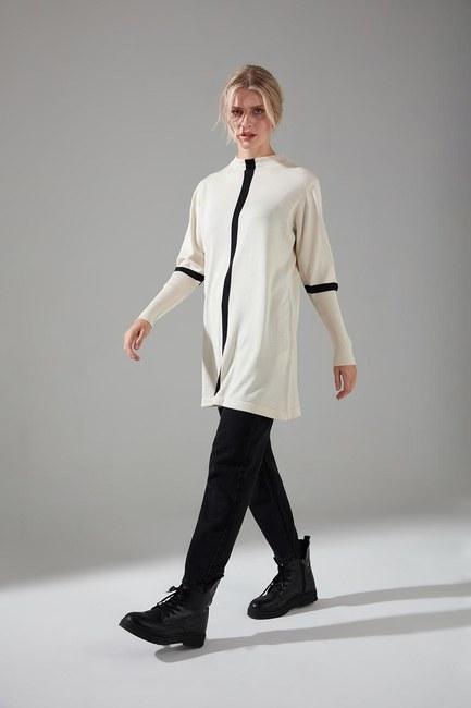 Mizalle - Şerit Detaylı Triko Tunik (Ekru)