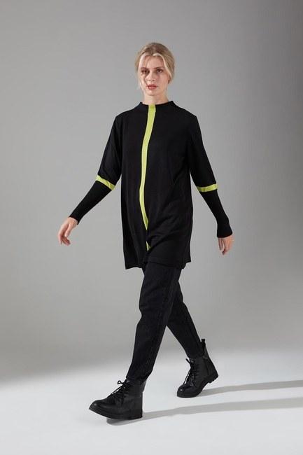 Mizalle - Şerit Detaylı Siyah Triko Tunik