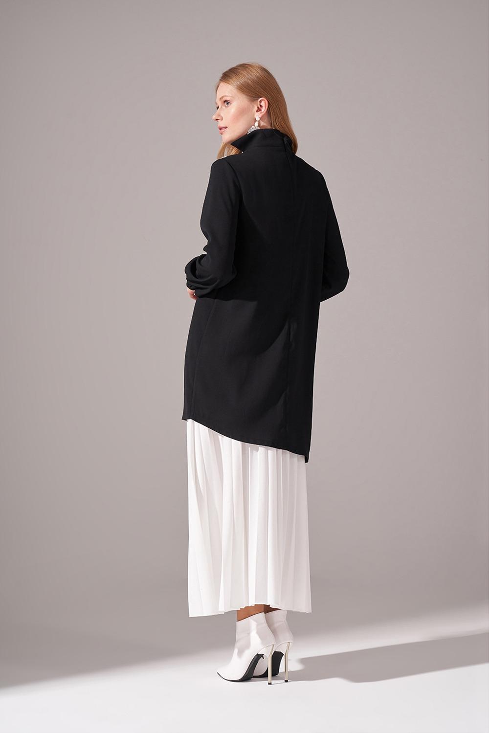 Şerit Parçalı Krep Siyah Tunik