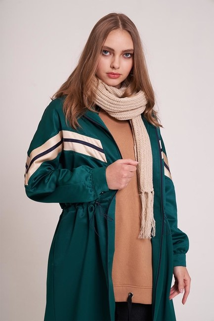 MIZALLE YOUTH - Striped Long Jacket (Green) (1)
