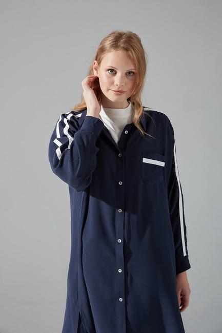 Şeritli Gömlek (Lacivert) - Thumbnail