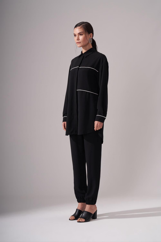 Şeritli Siyah Tunik