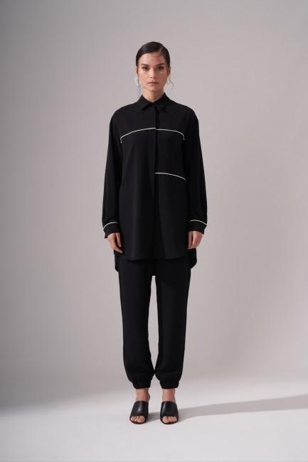 Mizalle - Şeritli Siyah Tunik