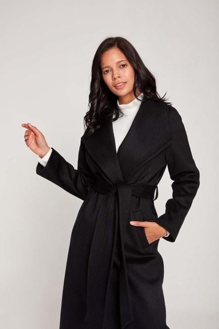 Mizalle - Shawl Collar Thai Pattern Coat (Black) (1)