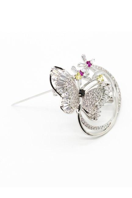 MIZALLE - Shiny Butterfly Brooch (Grey) (1)