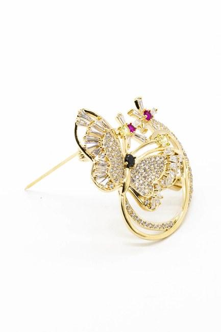 MIZALLE - Shiny Butterfly Brooch (Yellow) (1)