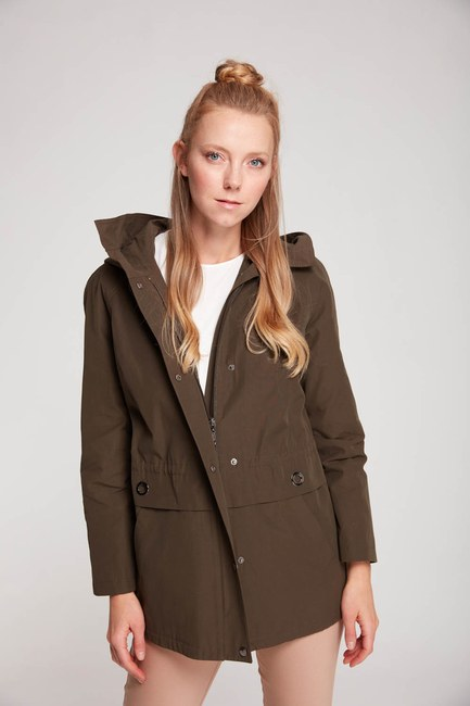 MIZALLE - Short Hooded Coat (Khaki) (1)