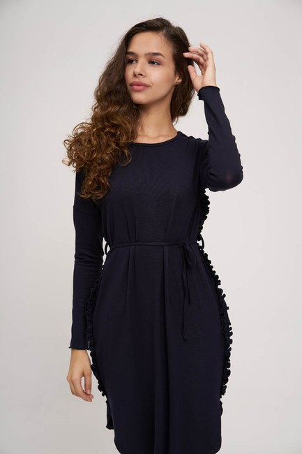 MIZALLE YOUTH - Side Pleated Flywheel Detailed Tunic (Navy Blue) (1)