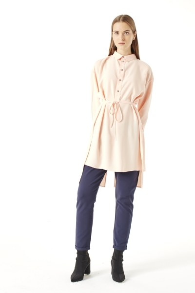 MIZALLE Side Slit Tunic (Salmon)