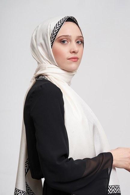 MIZALLE - شال من الحرير مع أوراق الشجر (عَاجِيّ) (1)