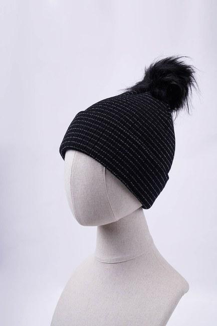 MIZALLE - Silver Striped Beanie (Black) (1)