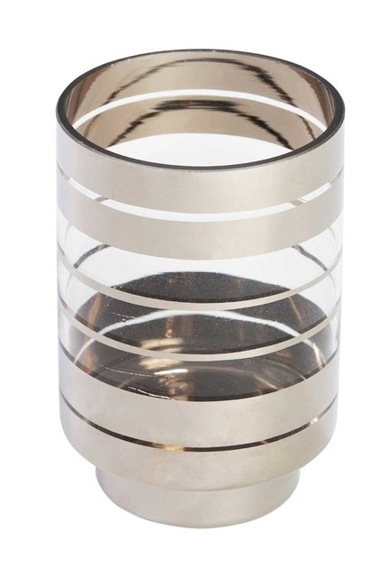 MIZALLE HOME - Silver Striped Candle Holder (Small) (1)