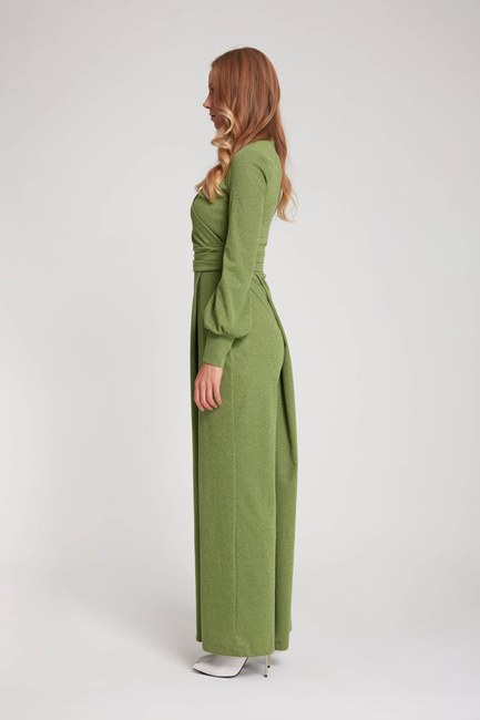 MIZALLE - Silvery Knitted Jumpsuit (Green) (1)