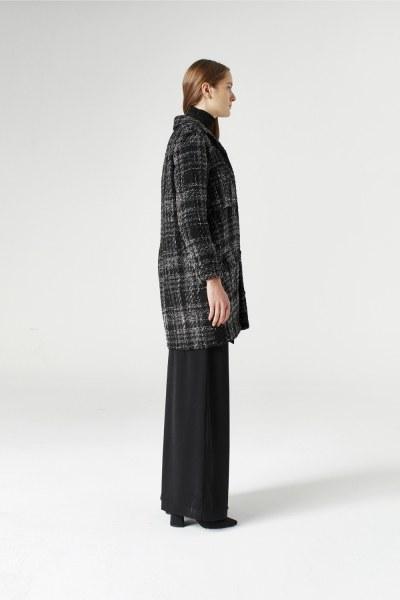 Mizalle - Silvery Plaid Long Jacket (Grey) (1)