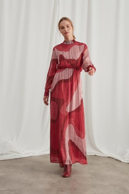 Mizalle - Sim Baskılı Desenli Bordo Elbise