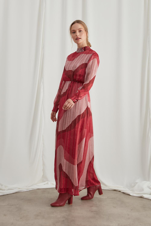 Sim Baskılı Desenli Bordo Elbise