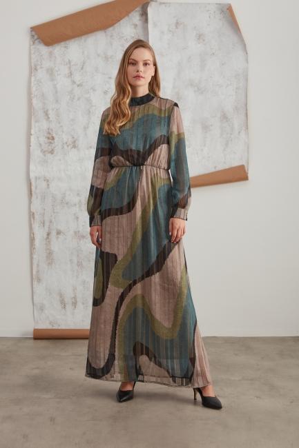 Mizalle - Sim Baskılı Desenli Haki Elbise