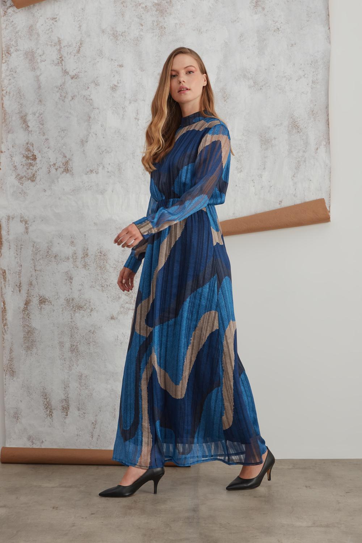 Sim Baskılı Desenli İndigo Elbise