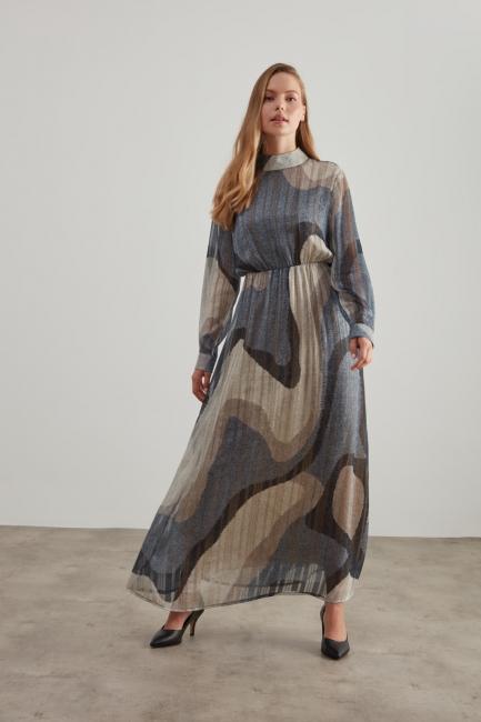 Mizalle - Sim Baskılı Desenli Vizon Elbise