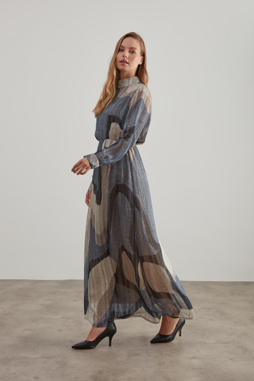 Sim Baskılı Desenli Vizon Elbise