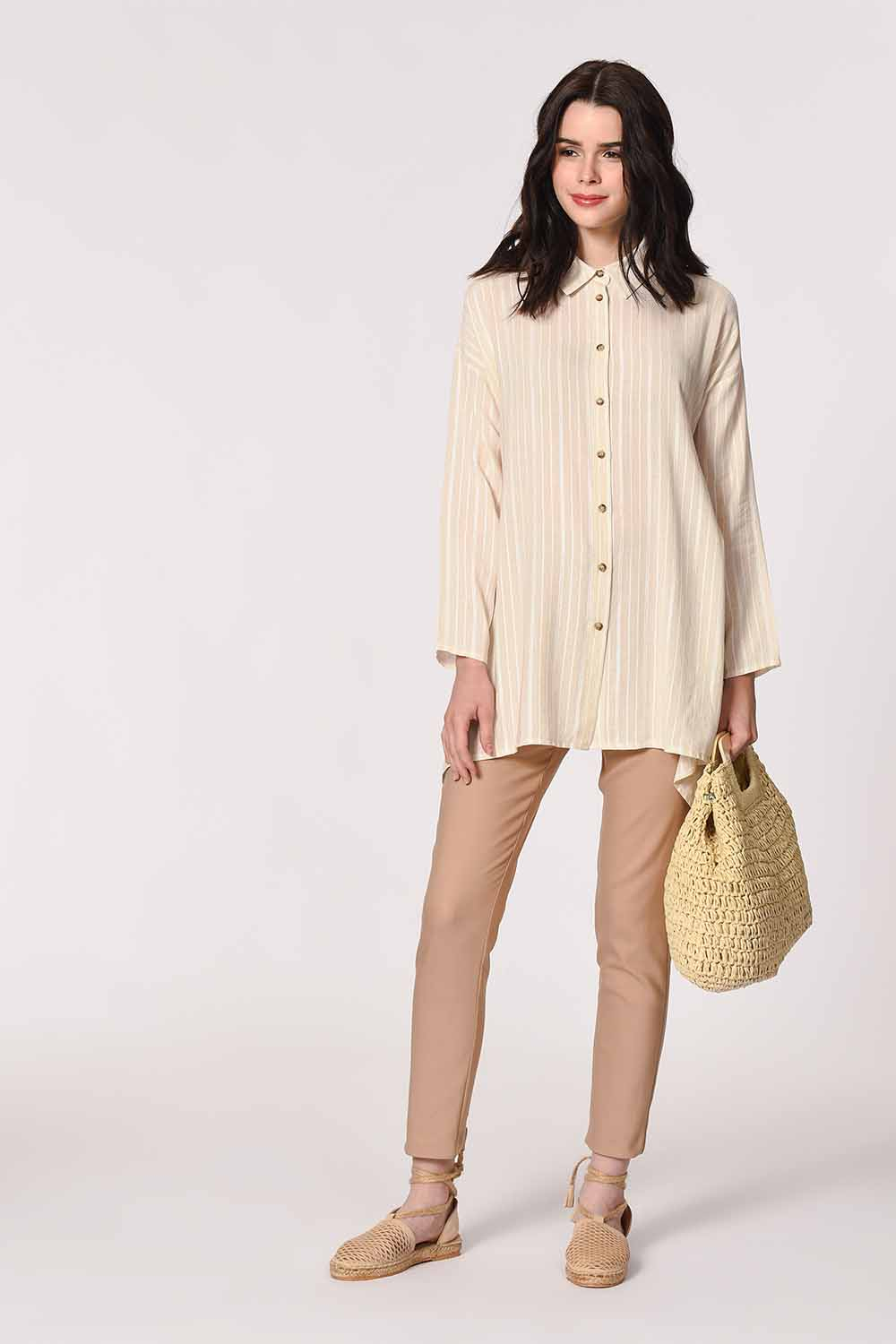 MIZALLE Sim Striped Linen Shirt Blouse (Ecru) (1)