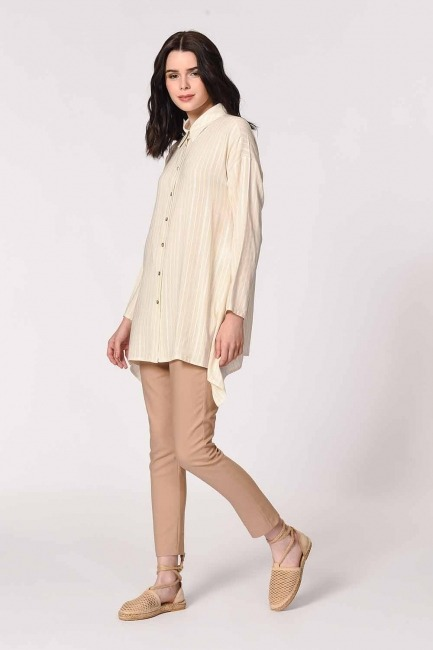 Sim Striped Linen Shirt Blouse (Ecru) - Thumbnail