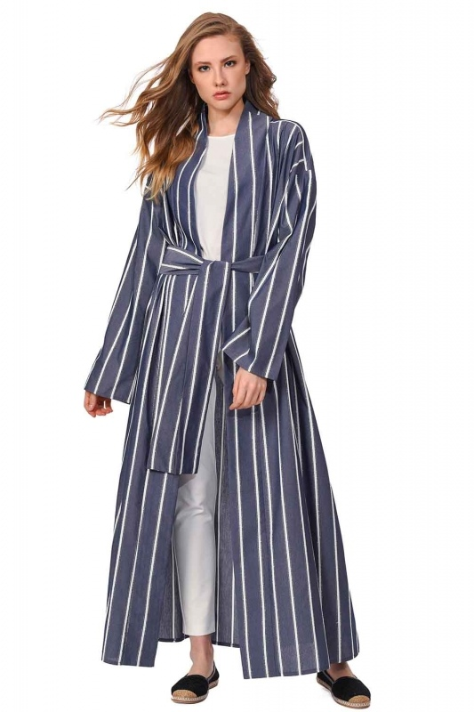 Sim Striped Kimono (Navy Blue)