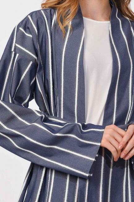 MIZALLE - Sim Striped Kimono (Navy Blue) (1)