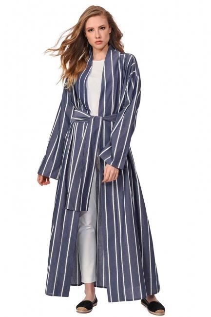 MIZALLE Sim Çizgili Kimono (Lacivert)