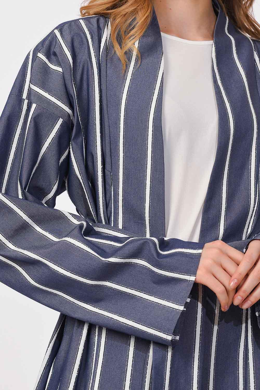 MIZALLE Sim Çizgili Kimono (Lacivert) (1)