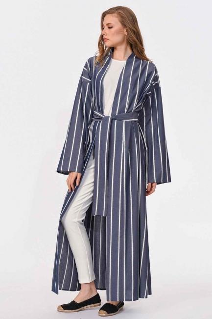 MIZALLE - Sim Çizgili Kimono (Lacivert) (1)