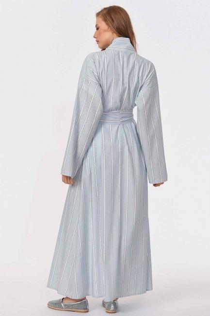 Sim Çizgili Kimono (Mavi) - Thumbnail