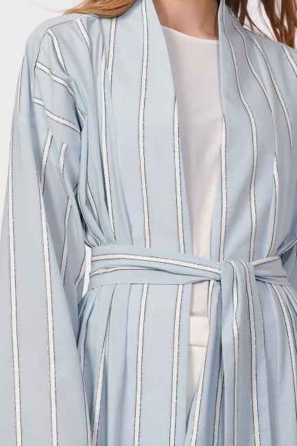 MIZALLE - Sim Striped Kimono (Blue) (1)