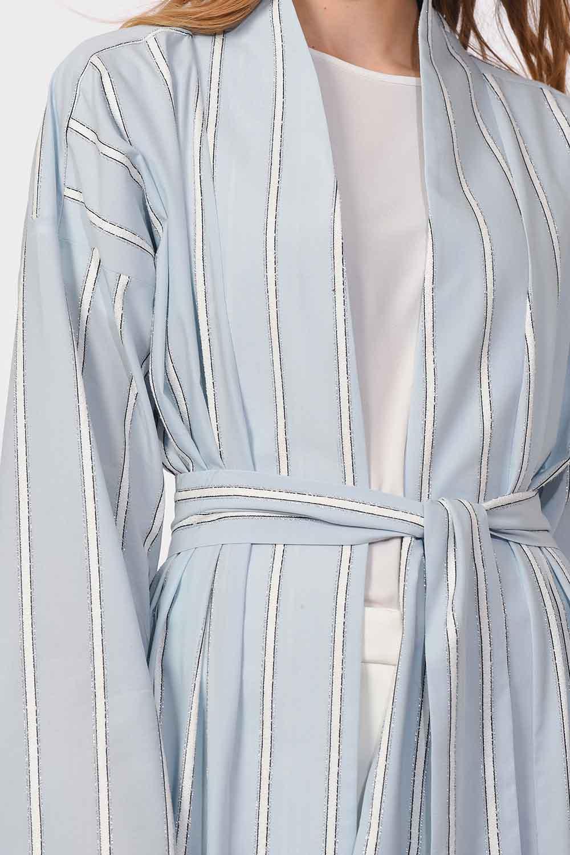 MIZALLE Sim Çizgili Kimono (Mavi) (1)