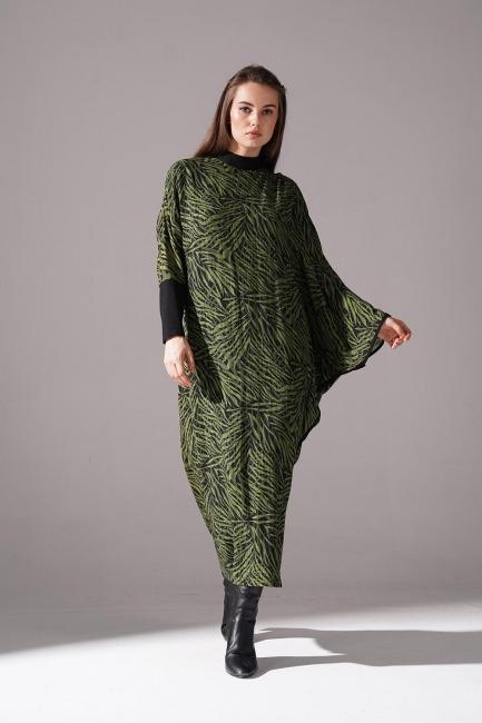 Mizalle - Sim Desenli Yarasa Kol Elbise (Yeşil)
