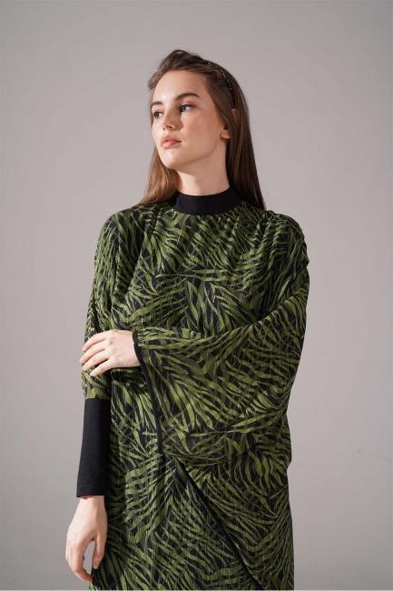 Sim Desenli Yarasa Kol Yeşil Elbise - Thumbnail