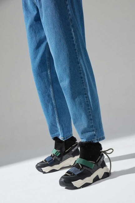 Mizalle - Sim Detaylı Bootie Sneaker (Siyah)