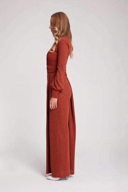 MIZALLE - بذلة محبوكة بلون فضي (قرميد أحمر) (1)