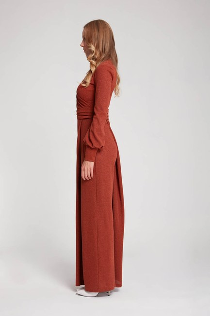 MIZALLE - Silvery Knitted Jumpsuit (Brick Red) (1)
