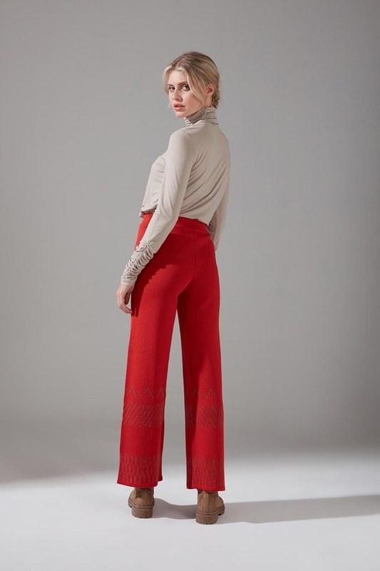 Sim Detaylı Triko Pantolon (Kiremit)