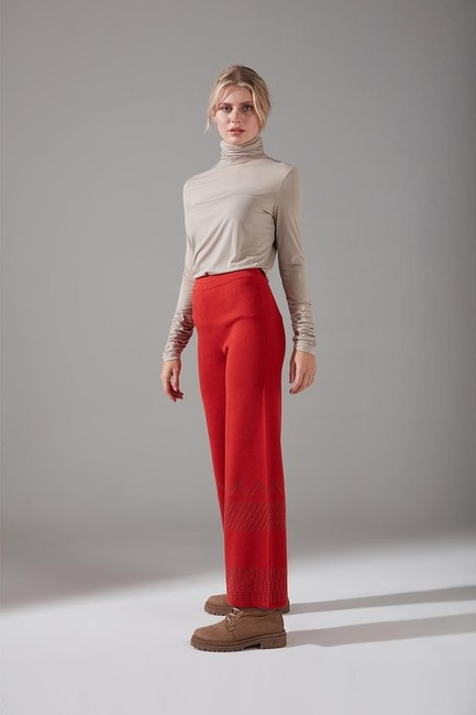 Mizalle - Sim Detaylı Triko Pantolon (Kiremit)