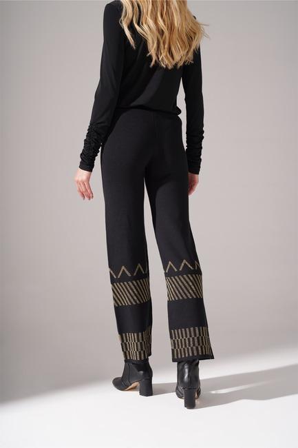 Sim Detaylı Triko Pantolon (Siyah) - Thumbnail