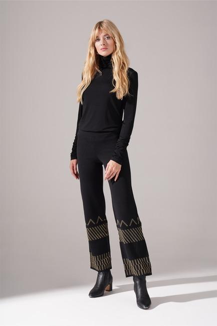 Mizalle - Sim Detaylı Triko Pantolon (Siyah)