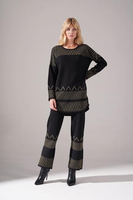 Mizalle - Sim Detaylı Triko Tunik (Siyah)