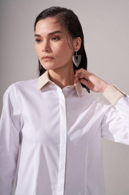 Simli Keten Beyaz Gömlek - Thumbnail