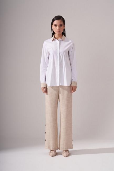 Mizalle - Simli Keten Beyaz Gömlek