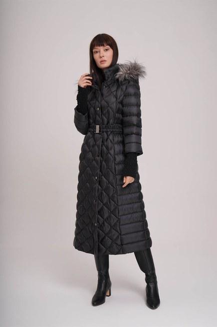 MIZALLE - معطف منتفخ بحزام في الخصر (أسود) (1)