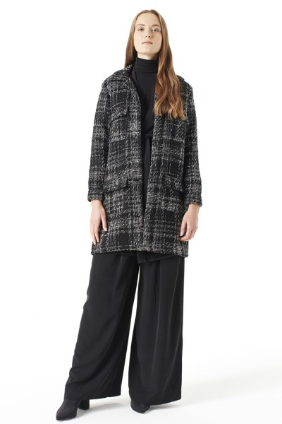 Silvery Plaid Long Jacket (Grey) - Thumbnail