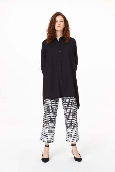 Garni Detailed Tunic Shirt (Black) - Thumbnail